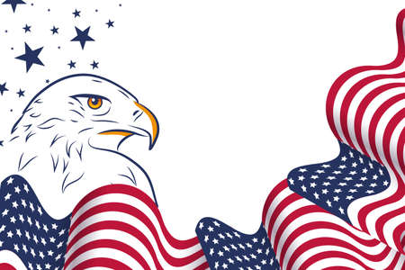 Wavy USA flag and portrait of Eagle on American festive design to national holidays, independence day, 4th of July, and memorial day. With an empty place for text.