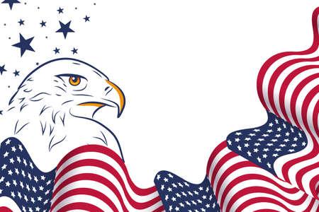 波浪美国旗子和鹰画象在美国欢乐设计的对全国假日,独立日,7月4日和阵亡将士纪念日。有一个空的文字的地方。