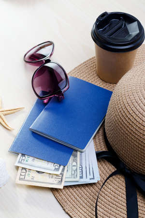 Back to travel concept. Vacation accessories, documents, passports and money. Good for touristic service.