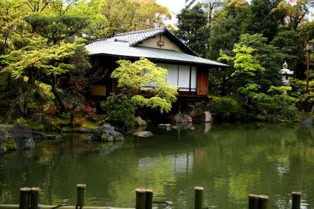 bamboo house: japanese garden Stock Photo