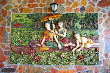 women in traditional Thai style molding art