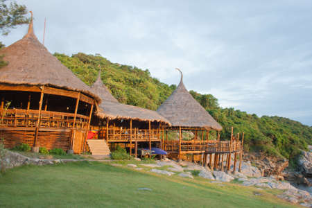huts: bamboo huts on cliff