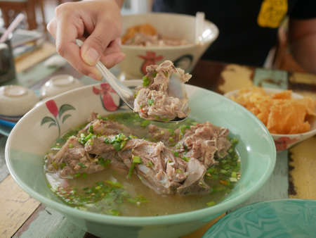 pork bone spicy soup, Tom yum, Tom Zap Stock Photo