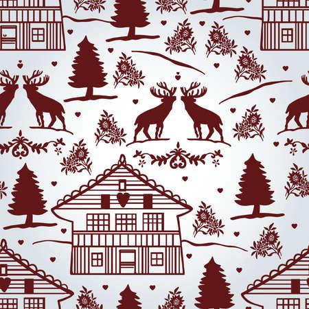 deer in heart: Cute pattern with Tyrolean motifs Illustration