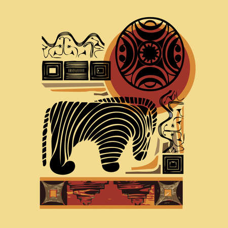 African style with zebra illustration Vector