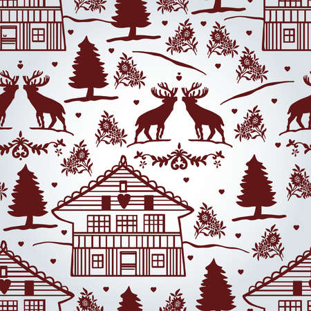 mountain stream: Cute pattern with Tyrolean motifs Illustration