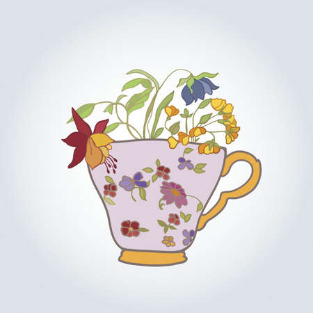 vintage cup with flowers illustration Vector