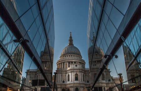 St Paul's Cathedral In the view that peep through the modern glass building, London