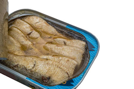Sardines can preserve isolated on white background Oblique view from the top. Stock Photo
