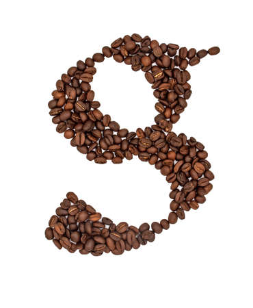 Coffee seeds font, English alphabet of Coffee seeds isolated on white background, Letter G symbol made from Coffee seeds.
