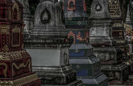 Pagodas, Called chedi containing the ashes of members of the thailand people family, in a Buddhist temple, Buddhist bone ash, Selective focus.