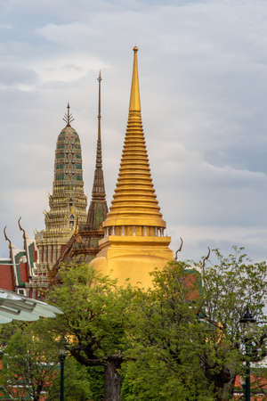 Bangkok, Thailand - Jun 19, 2020 : Wat Phra Kaew - The Temple of Emerald Buddha. Is the most sacred Buddhist temple in Thailand, it also a potent religion symbol of Thailand.