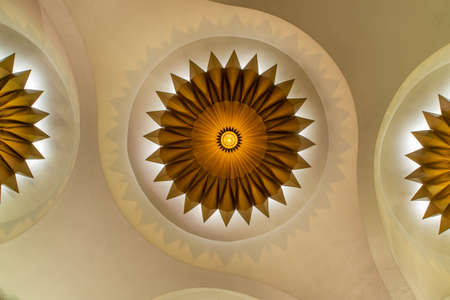 Bangkok, Thailand, Jul 03, 2020 : Bottom view of Beautiful interior design with Ceiling lamp in Scala cinema at Siam Square.