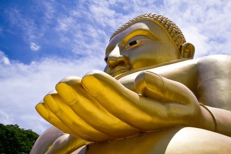 Big Golden Buddha at Wat Sing Buri  Province, thailand photo