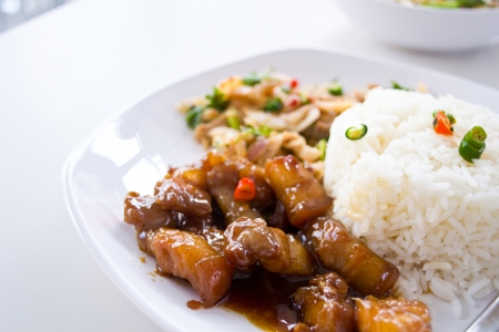 Beef curry with rice , Thai food photo
