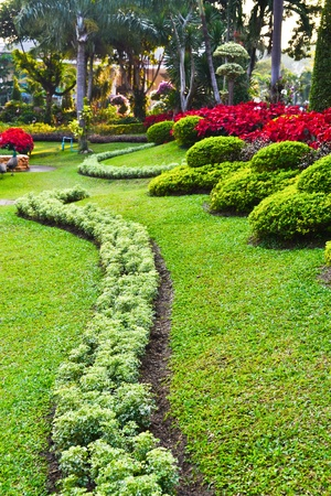 Beautifully manicured park in thailand Stock Photo