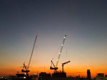concrete commercial block: Night time Bangkok city of construction