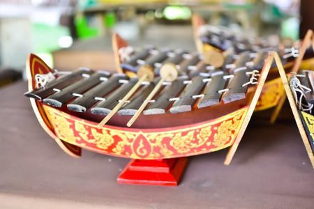 thai musical instrument: Children xylophone Thailand style Stock Photo