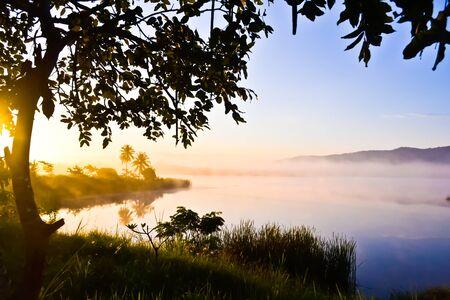 Sunrise on the lake at wangnahmyen Stock Photo