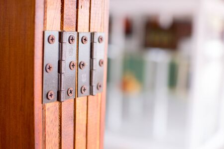 stainless hinges on door Stock Photo