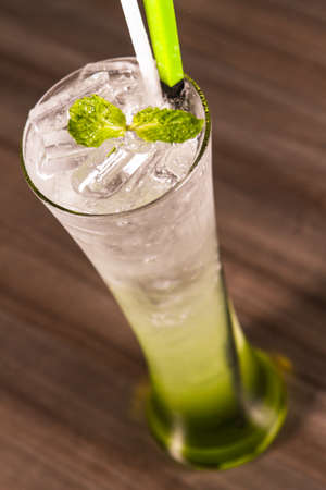 bubbling: Green soda topped with mint leave
