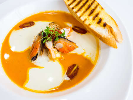 Famous French dish, bouillabaise seafood soup photo