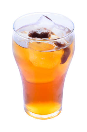 non alcoholic beverage: Longan juice with ice in glass. Stock Photo