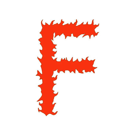 Fire letter F isolated on white background