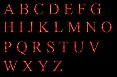 Sparkling font on black background. Alphabet of red firework.