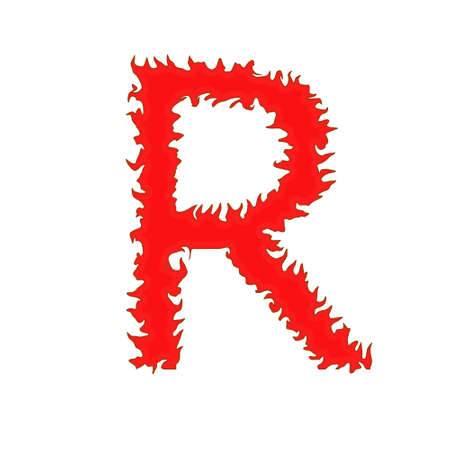 Fire letter R isolated on white background with clipping path Stock Photo