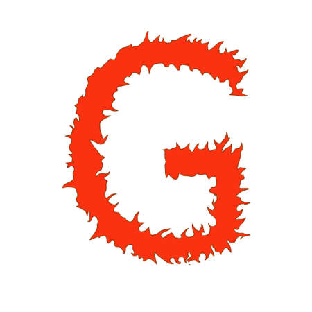 Fire letter G isolated on white background with clipping path