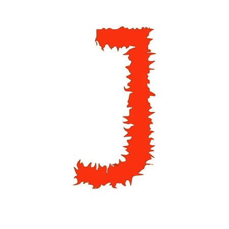 fervent: Fire letter J isolated on white background with clipping path Stock Photo