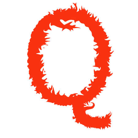 fervent: Fire letter Q isolated on white background with clipping path