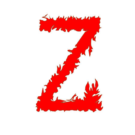 Fire letter Z isolated on white background with clipping path Stock Photo