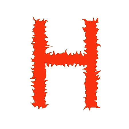 fervent: Fire letter H isolated on white background with clipping path