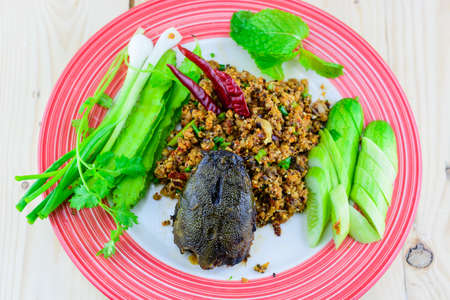 catfish: Minced Catfish Spicy Salad with Herbs Stock Photo