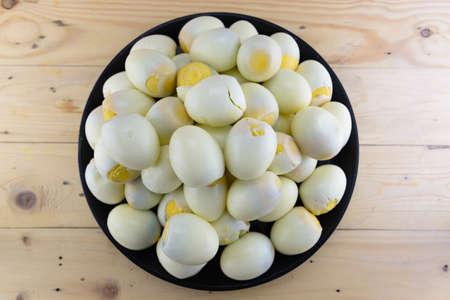 ailment: Boiled eggs, peeled lot Stock Photo