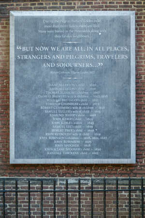 founding fathers: Remembrance plaque outside St Peter39s Church in Leiden
