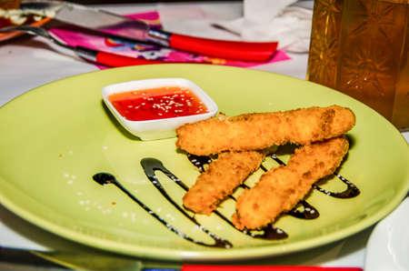 Juicy chicken with crispy crust Banco de Imagens
