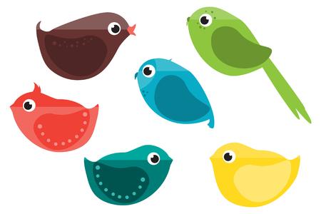 finch: Set of Birds. Cartoon Characters.