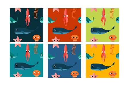 sperm: Marine Seamless Patterns. Underwater Cartoon Characters.