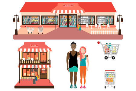 small business woman: Shop Store Facade. Cafe and Market.  Illustration