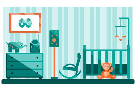 babygirl: Nursery interior. Flat vector illustration.