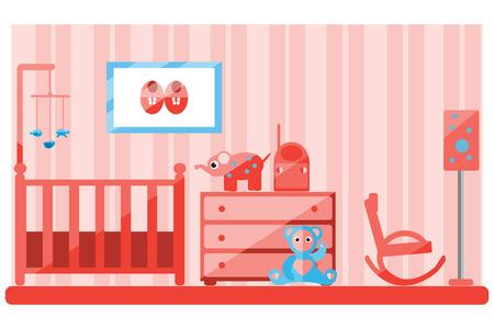 toy chest: Nursery interior. Flat vector illustration.