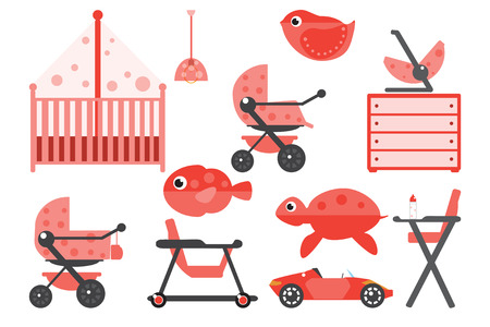 toy chest: Baby room furniture. Nursery interior. Flat vector illustration. Illustration