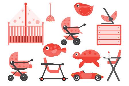 chest wall: Baby room furniture. Nursery interior. Flat vector illustration. Illustration