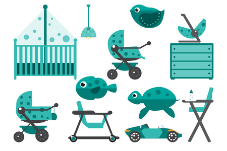 chest wall: Baby room furniture. Nursery interior. Flat vector illustration. Illustration
