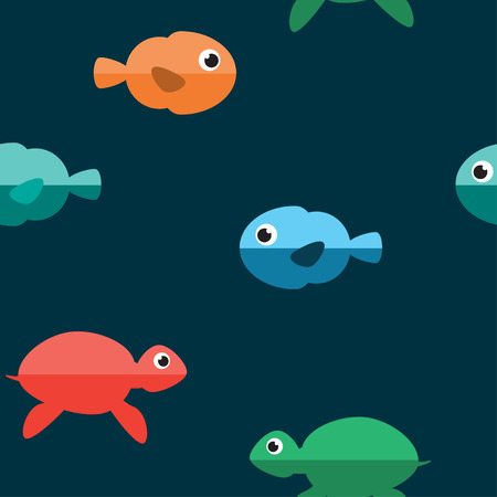 sperm: Marine seamless Pattern. Underwater Cartoon Characters. Fish and Turtle. Vector Background.