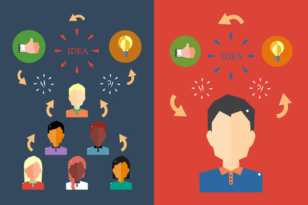 Business Start Up Concept. Team Work.Team Working Concept in Flat Style. Vector Flat Illustration.