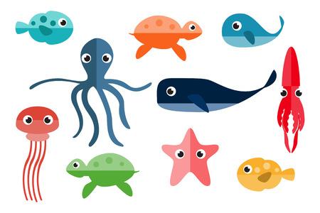 pulpo: Animales marinos. Personajes de dibujos animados. Subacuático Ilustración del vector.